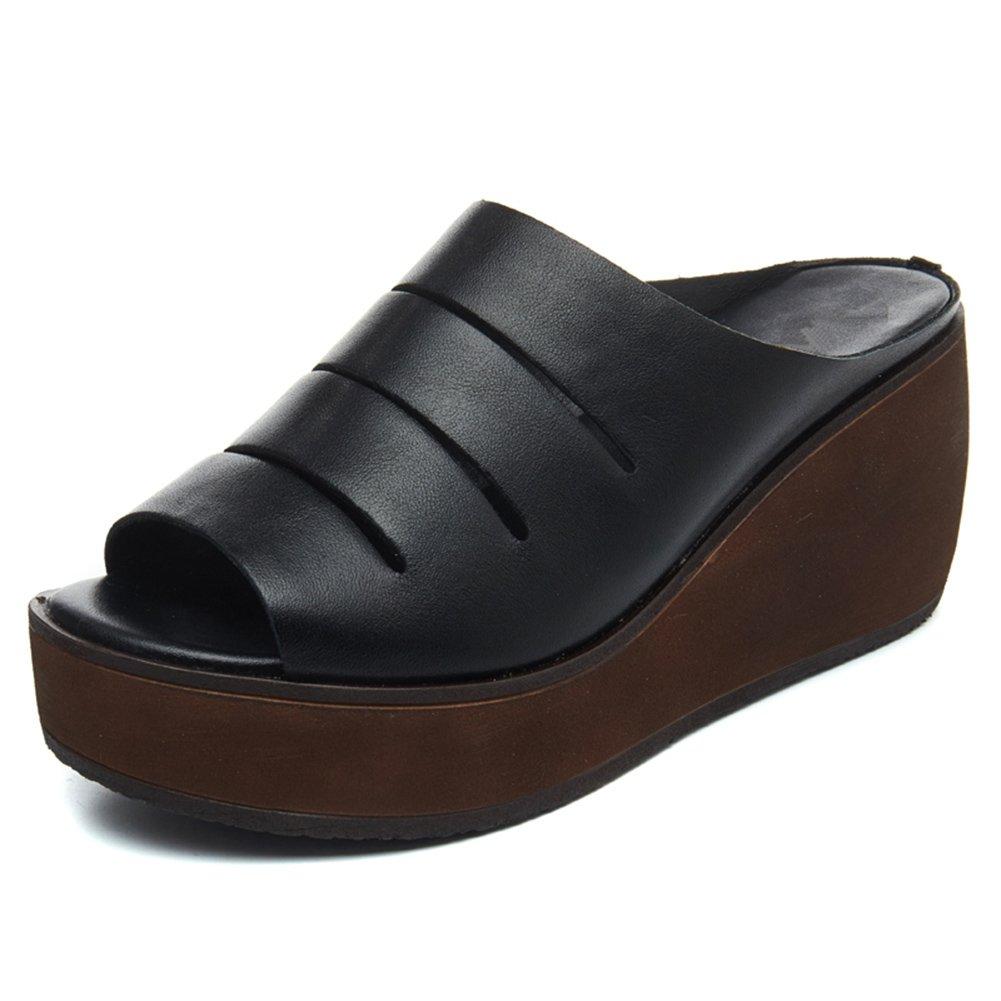 PENGFEI Verano Pantofola Zapatillas De Las Mujeres Cuña Fondo Grueso Moda Altura del Talón 7CM, 2 Colores (Color : Negro, Tamaño : EU36/UK4.5/US6/230) EU36/UK4.5/US6/230|Negro
