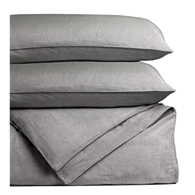 Cariloha Bamboo Linen Duvet Cover Set Includes Duvet Cover and 2 Pillow Shams - 3 Degrees Cooler Than Cotton - Soft and Smooth Bamboo-Linen Weave (King, Graphite)
