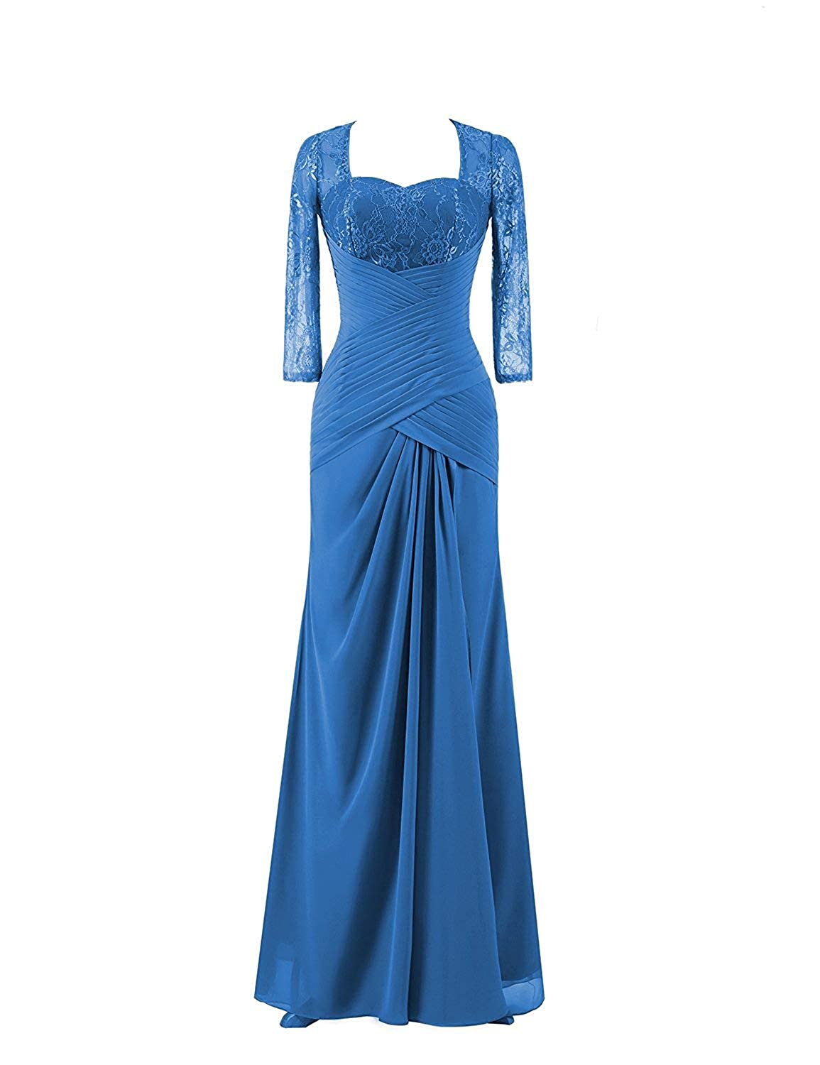 bluee Mother of The Bride Dresses with Long Sleeves Plus Size Evening Gown Lace Mothers Dress Formal Gowns