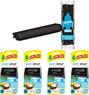 LITTLE TREES Car Air Freshener | Vent Wrap Provides a Long-Lasting Scent, Slip on Vent Blade | Caribbean Colada, 4-Packs (4