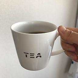 Amazon Co Jp Tamaki マグカップ 透かし Tea 直径9 高さ8 5cm 350ml 電子レンジ 食洗機対応 T ホーム キッチン