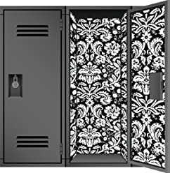 Locker Designz Deluxe Magnetic Locker Wallpaper, Damask Black and White