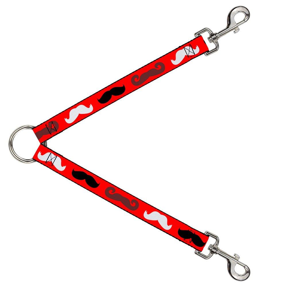Buckle-Down DLS-W31395 Leash Splitter-Mustaches Red Brown White Black, 1  W-30  L