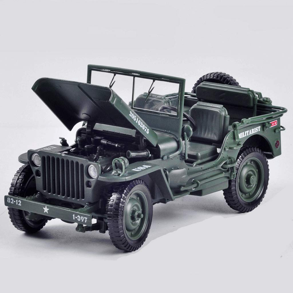 GAOQUNTOY Military Tactical Jeep Alloy Model 1 18 Vintage WWII Willis Military Car Toy Car (color   GREEN)