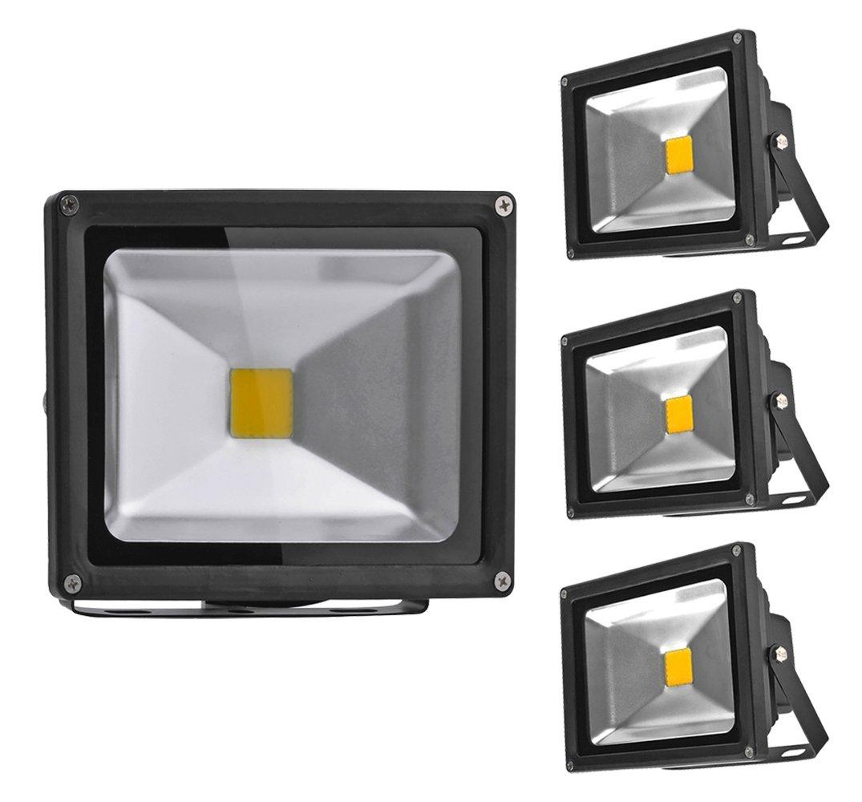 PrimLight 4 Pezzi 20W Impermeabilizza Luce di Inondazione del LED Luce di Inondazione Esterna Luce di Inondazione di Risparmio Energetico Luce di Sicurezza Luce Parete,IP65,Bianco Caldo