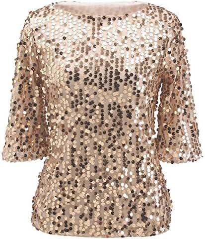 PlayWorld Womens Shimmer Glam Glitter Sequin Embellished Sparkle Tank Top Shirt