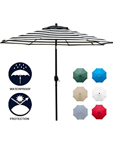 Sunnyglade 9u0027 Patio Umbrella Outdoor Table Umbrella With 8 Sturdy Ribs