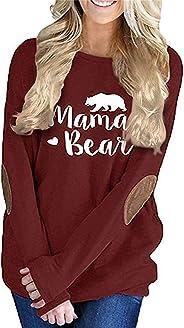 onlypuff Women's Mama Bear Tops Long Sleeve Casual Pullover Sweatshirts