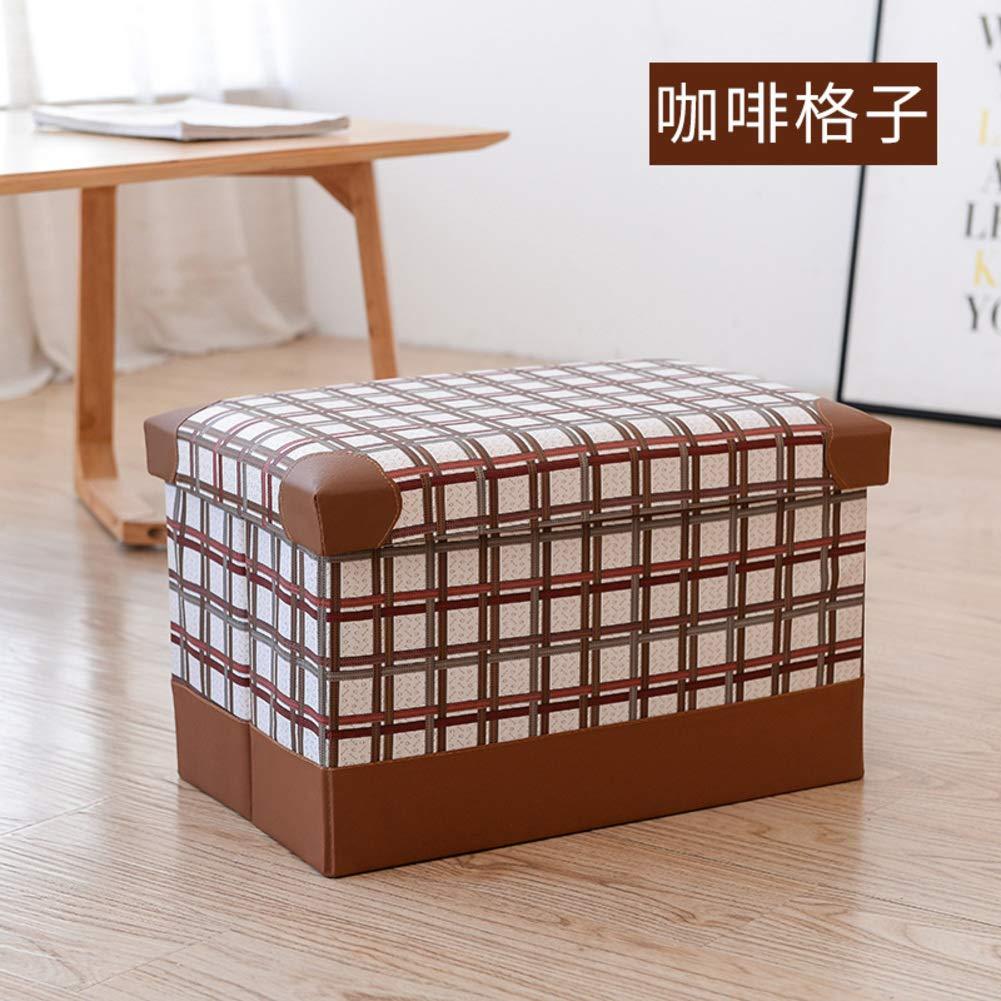 A 48x31x31cm(19x12x12) Rectangular Storage Stool,Storage Stool Adult shoes Bench Foldable Leather Storage Box Toy Storage Box-B 48x31x31cm(19x12x12)