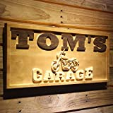 "wpa0217 Name Personalized Motorcycle Garage Man Cave Wood Engraved Wooden Sign - Standard 23"" x 9.25"""