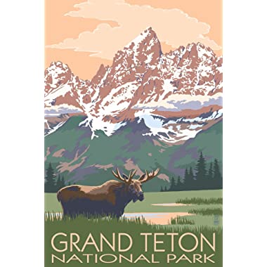 Grand Teton National Park, Wyoming - Moose and Mountains (9x12 Art Print, Wall Decor Travel Poster)