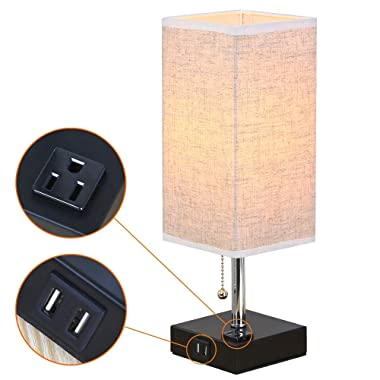 ZEEFO Dual 2.1A USB Charging Port Table Lamps with Outlet, Simple Design Bedside Table Lamp, Black Base and Fabric Shade Nightstand Desk Lamp is Great for Bedroom, Guest Room, Office (Square)