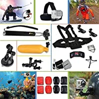 Xtech Ideal 22 Piece Accessory Kit for GoPro HERO4 Hero 4 + GoPro Hero3 Hero 3, GoPro Hero2 Hero 2, GoPro Surf Hero, GoPro Hero Naked, GoPro Hero 960 Digital Cameras Includes: Adjustable Head Strap Mount+ Chest Strap Mount + Extendable Handle Monopod + Flat / Curvy Adhesive Sticky Mounts +2 J-Hooks + Sealed Floating Bobber Handle + Bicycle Handlebar + Car Suction Cup Mount + Deluxe Cleaning Kit