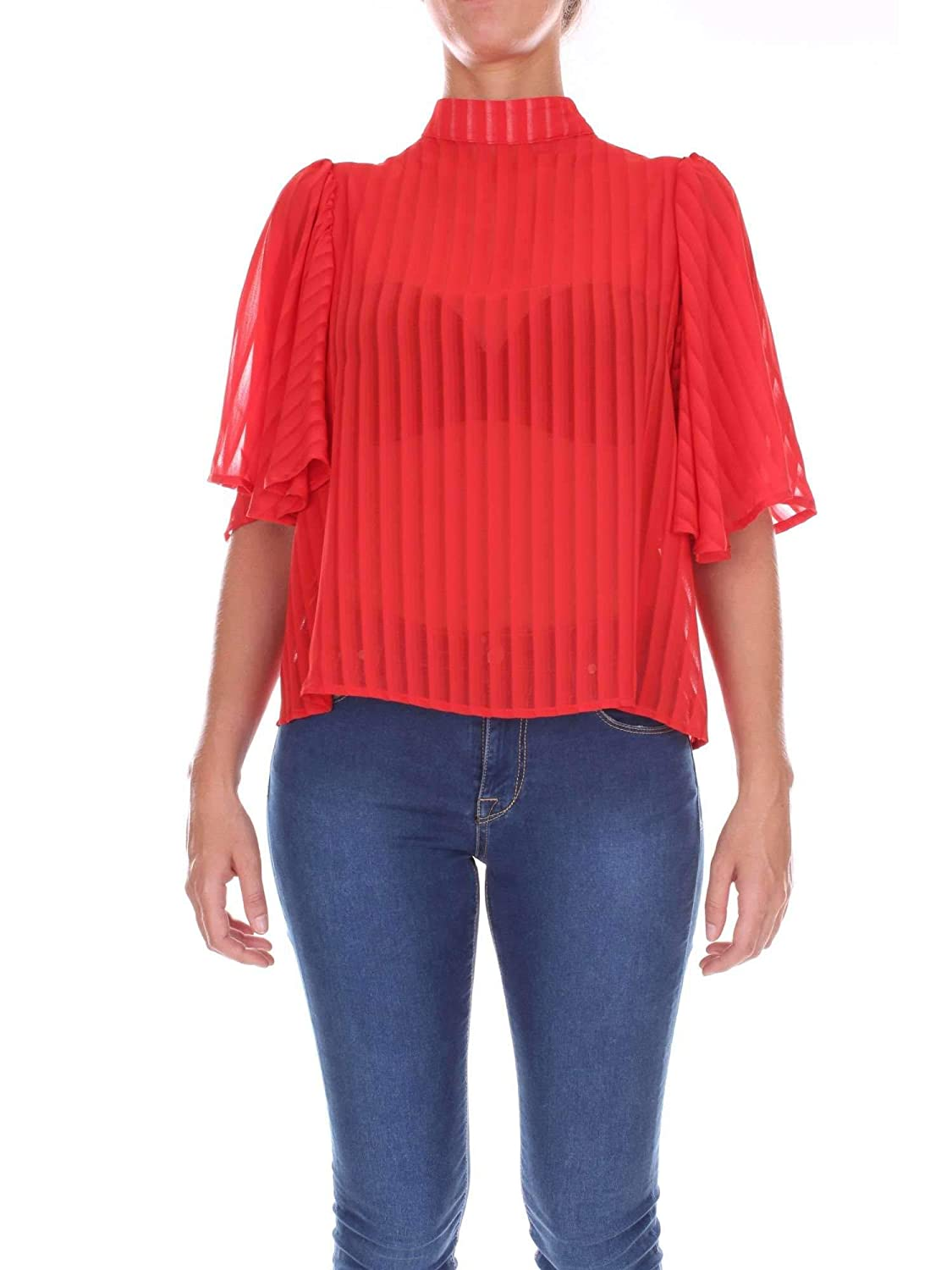 Nineminutes Women's VOLANTSTRIPEred Red Polyester Top