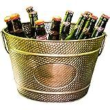 BREKX Hillcrest Copper Finish Hammered Galvanized Beverage Bucket, Medium