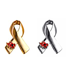 YAVONA Ribbon Poppy Brooches Pins for Hero Soldier Remembrance Day Gifts (Pack of 2)