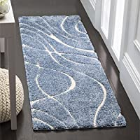Safavieh Florida Shag Collection SG471-6011 Light Blue and Cream Runner (23 x 7)