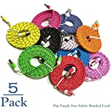 Josi Minea 5 Pc Flat Tangle Free Fabric Braided Nylon Micro USB Cables 3ft/1m Charger Sync Data Rapid Charging Cable Cord for Samsung Galaxy S7/S6/S5/S4/S3 Android / Windows Phones & Tablets [5 Pack]