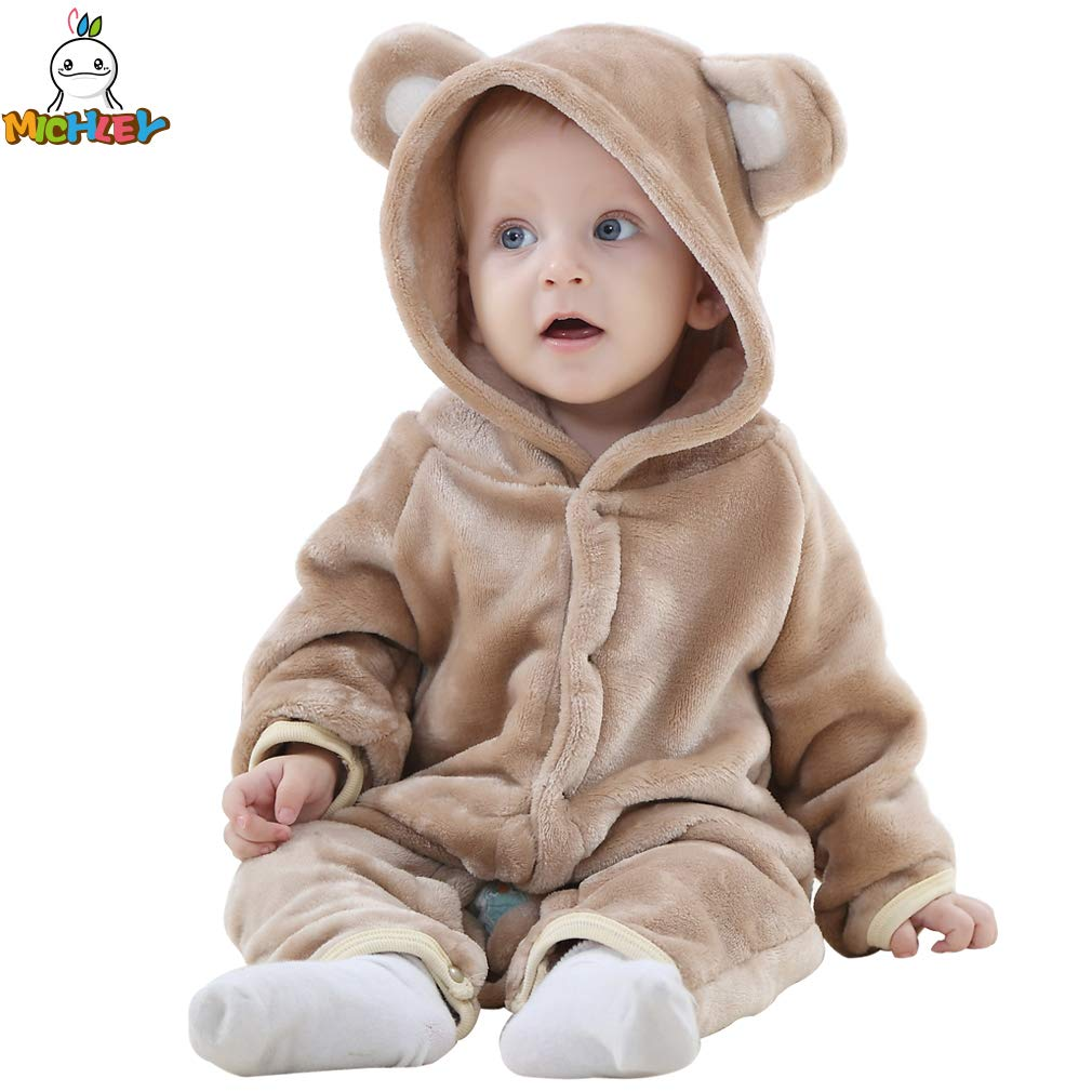 ベビー 着ぐるみ ロンパース もこもこ カバーオール かわいい キッズ コスチューム 防寒着 男の子 女の子 出産祝い (80CM(4-12ヶ月), 褐色)