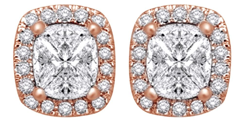 0,62 Karat Weißszlig; natürlicher Diamant Fashion Ohrstecker in 14 ct 585 Massiv Weißszlig; Gold 14 Karat RotGold