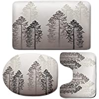3 Piece Bath Mat Rug Set,Country,Bathroom Non-Slip Floor Mat,Pine-Trees-in-the-Forest-on-Foggy-Seem-Ombre-Backdrop-Wildlife-Adventure-Artwork-Decorative,Pedestal Rug + Lid Toilet Cover + Bath Mat,Warm