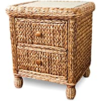 Wicker Paradise BL102 Key West Miramar Natural Fibers Two Drawer Nightstand, Large
