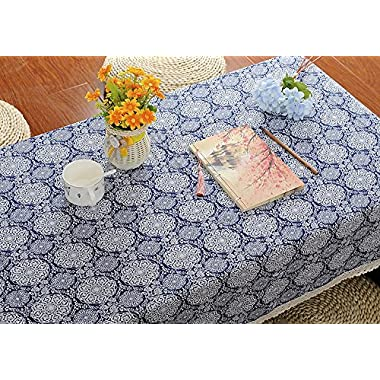 ChezMax Linen Cotton Fabric Table Cover Blue Pattern Rectangle Tablecloth 35.4  x 55  with Lace