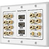 Distribución de sonido envolvente de 3 bandas 7.2 para cine en casa, cobre y plátano, tipo acoplador, chapado en pared, para