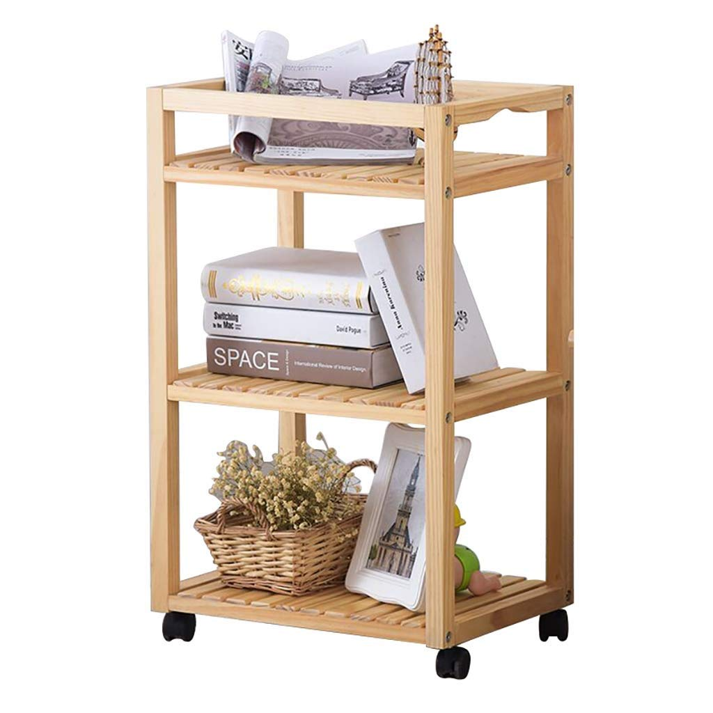 ZHILIAN& Storage Cart Simple Modern Solid Wood Floor Storage Rack Rack Home Multi-Function Service Cart Rolling Cart