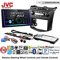 Volunteer Audio JVC KW-X830BTS Double Din Radio Install Kit with Bluetooth SiriusXM Ready Fits 2003-2007 Honda Accord (Factory climate controls)