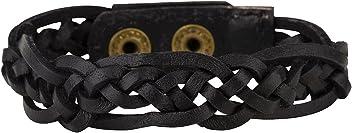 """SIX MAN """"Basic lässig geflochtenes Leder Arm Band in schwarz mit Druckknopf Verschluß verstellbar Männer Herren Armschmuck Armband für ihn (400-702)"""