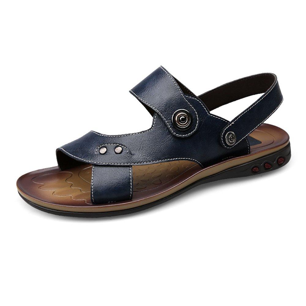 Zapatillas de Playa de Cuero de Vaca Genuino de los Hombres Zapatillas de Deporte Sandalias Antideslizantes Ajustables sin Respaldo,para los Hombres 44 EU|Navy