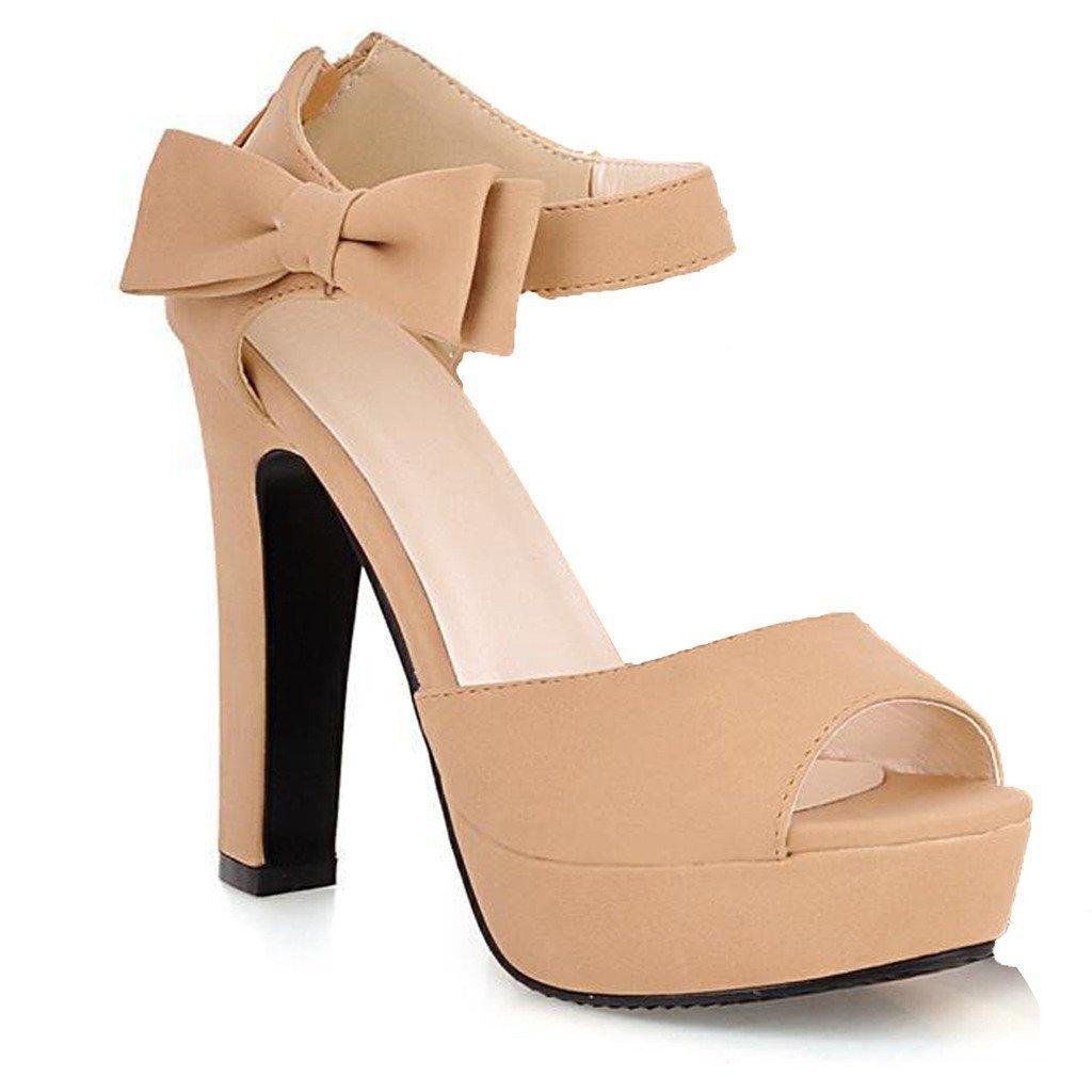 Minetom Donne Ragazze Elegante Sandali Tacco Alto Sandali Con Bowknot Peep Toe Scarpe Albicocca