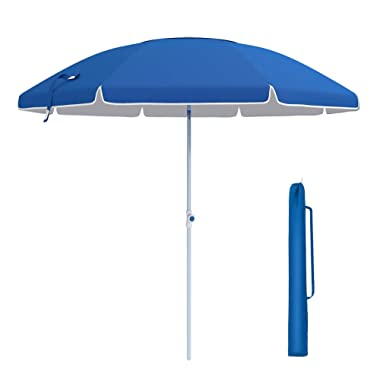 SONGMICS 7 Feet Fiberglass Beach Umbrella, Heavy Duty Outdoor Sports Umbrella, Sun Shade with Tilt Mechanism, Carry Bag - for Beach, Gardens, Balcony and Patio Blue UGPU07BUV1