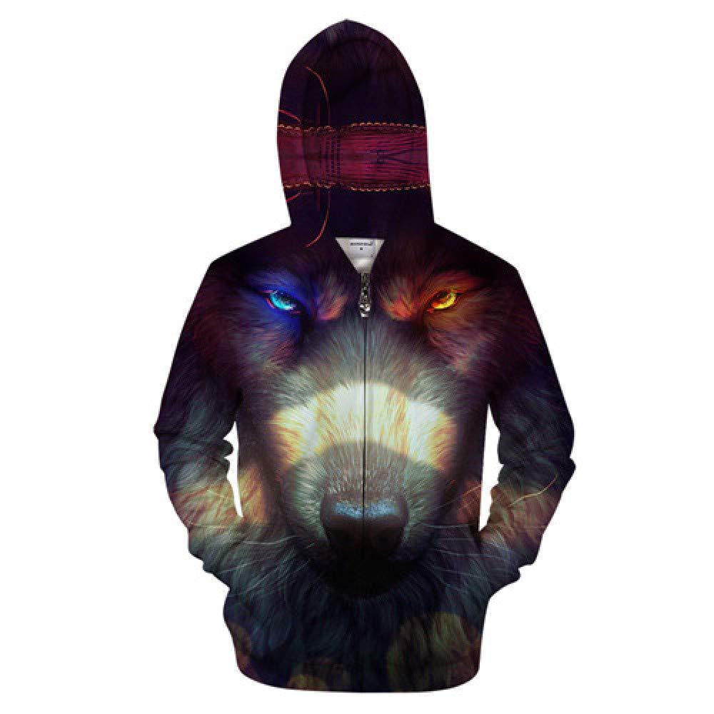 ZIP467 4XL WDDGPZWY Hoodie Kapuzenpul r Sweatshirt Wolf Eye Männer 3D Zip Hoodies Reißverschluss Hoody Lässige Sweatshirt Große Trainingsanzug Pul r Jacke Persönlichkeit