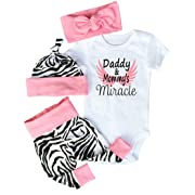 Baby Girls Dad Mom Miracle Saying Bodysuits with Leggings Headbands Caps 4pcs Outfit Set (3-6M, Pink)