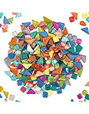 PH PandaHall 500g Irregular Mosaic Tiles Glitter Crystal Mosaic Pieces Cabochons Large Piece for DIY Crafts, Plates, Picture Frames, Flowerpots, Handmade Jewelry and More