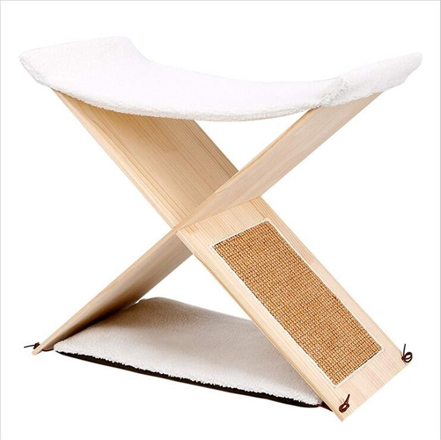 Cat Climbing Frame,Toy Simple Cat Furniture Sisal Grab Board Nest Double Layer Solid Wood Grinding Paw,Sleep and Play