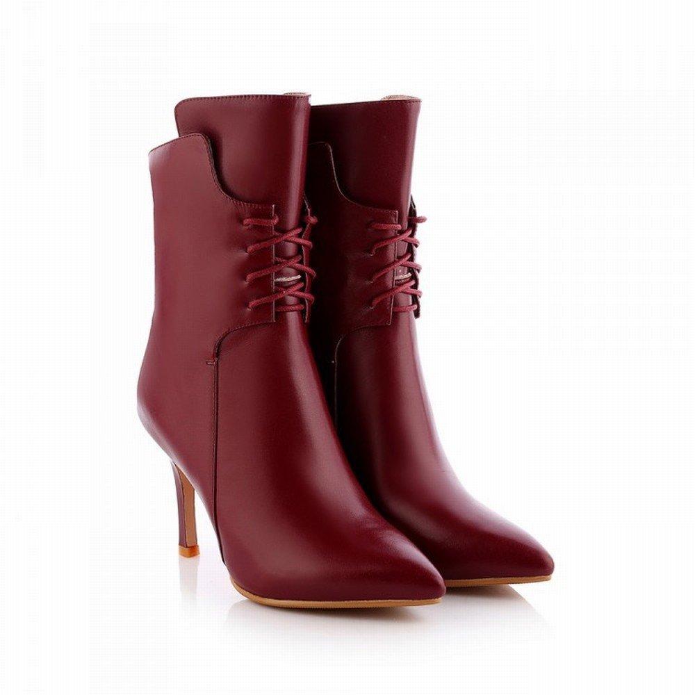 CXY Hochhackige Damen Damen Damen Stiefel in Edlem High-End mit Spitzen High-End Damenschuhen Weinrot 36 919532