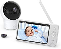 """Video Baby Monitor, eufy Security, Video Baby Monitor with Camera and Audio, 720p HD Resolution, Night Vision, 5"""" Display, 11"""