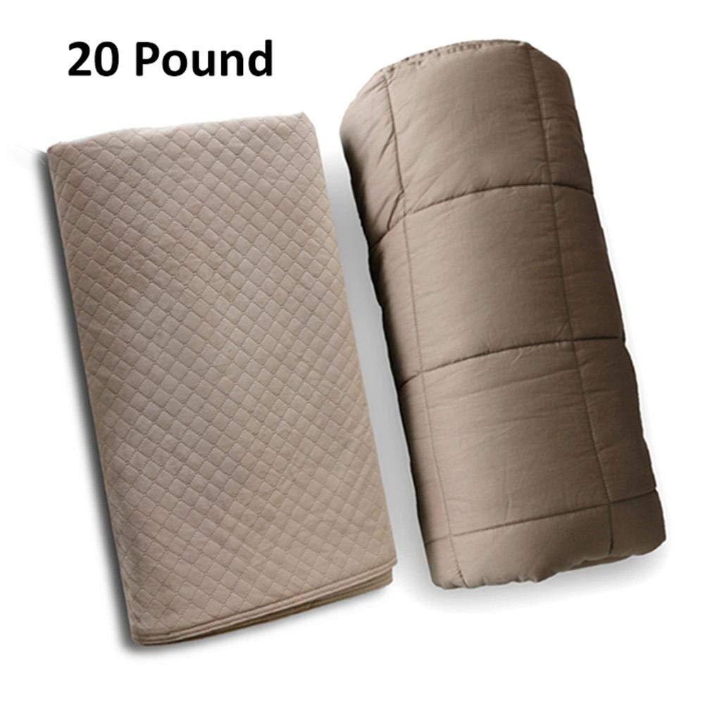 TherapieDecke Gewichtsdecke Schwere Decke, Quilt Premium Gewichtete Decke und Abnehmbarer Bezug, Premium Glasperlen für Erwachsene und Kinder 15 Pfund 20 Pfund