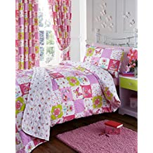 PATCHWORK DUVET QUILT COVER FLORAL BUTTERFLY GIRLS DOUBLE BEDDING SET PINK LILAC