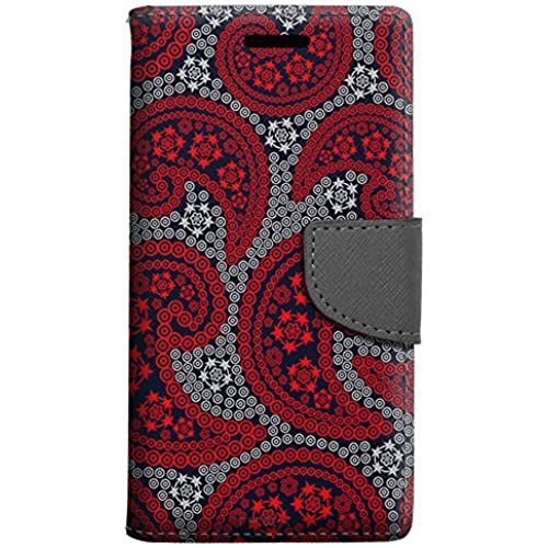Samsung Galaxy S7 Edge Wallet Case - Paisley Red and Flowers on Navy Case Sales