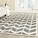 Safavieh CHT746D-3SQ Chatham Collection Dark Grey and Ivory Wool Square Area Rug, 3-Feet