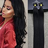 """Full Shine 16"""" 1g per Strand 50g Per Package Straight Pre Bonded U Nail Keratin Tip Fusion Hair Extensions Color#1B Off Black 100 Remy Human Hair Extensions"""