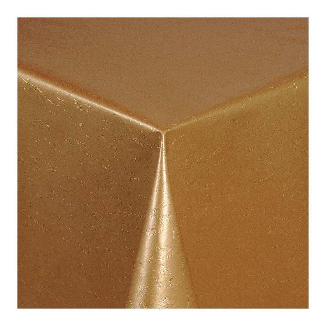 Wachstuch Tischdecke Wachstischdecke Gartentischdecke, Abwaschbar Meterware, Länge wählbar, Hochwertig Hochwertig Hochwertig Geprägtes Ranken Design in Gold (305-10) 1000cm x 140cm ff4532