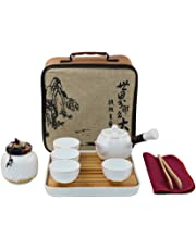 Ensemble de thé Kungfu de voyage portable Vintage chinois / japonais fait à la main, théière en porcelaine & 4 tasses à thé & réservoir à thé & teatray en bambou & sac
