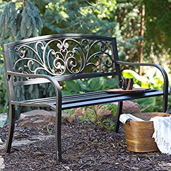 white metal garden bench ebay outdoor furniture lowes coral coast scrolling hearts curved back with cushion