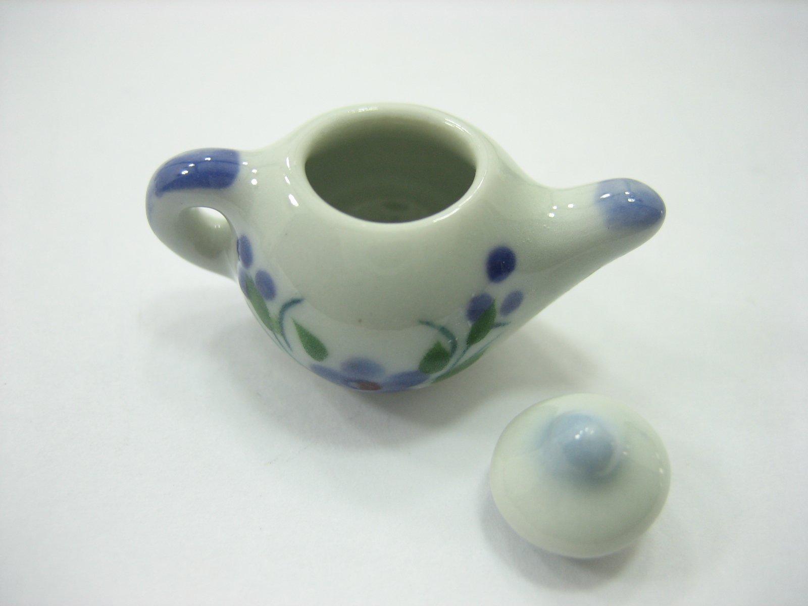 Set 4 Coffee Pot Teapot Orchid Flower Paint Dollhouse Miniatures Ceramic 13232