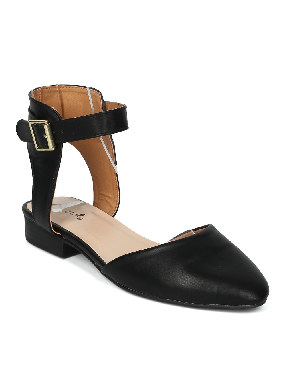 Women Pointy Toe D'Orsay Ankle Strap Flat - IA01 by Qupid Collection B07FD52ZBG 8.5 B(M) US|Black Leatherette